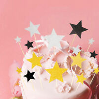 1Set Cupcake Picks Birthday Cake Topper Stars Muffin Wedding Party Flag Decor