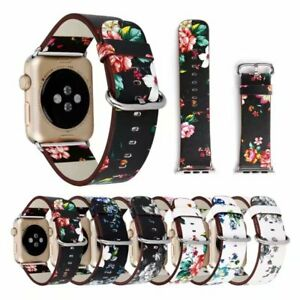 For Apple iWatch Strap 3/2/1 Floral Genuine Leather strap 38/42mm