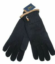 Polo Ralph Lauren Men`s 100% Merino Wool Gloves Black Leather SZ OS NEW