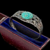 Antique Vintage Native Navajo Pawn Sterling Silver Turquoise Cuff Bracelet 29.3g