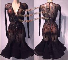 L825 women ballroom Ramba Latin/Rhythm Samba US 12 Dance Dress sleeve