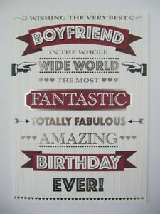 BOYFRIEND BIRTHDAY CARD COLOURFUL THE VERY BEST GREETING CARD