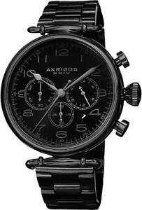 Akribos XXIV AK764BK Chronograph Date GMT White Accented Black Mens Watch