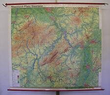 Belles anciennes écoles carte Rhénanie-Palatinat Sarre ~ 1960 204x189cm Vintage Map