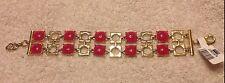 """Gold Metal 1 1/4"""" Wide $48 Nwt Cache Bracelet New Adjustable Pink Rose """"Quartz"""""""