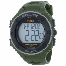 NEW-TIMEX SHOCK RESISTANCE XL GREEN+BLACK+GRAY TONE,RUBBER BAND,WATCH-T49951
