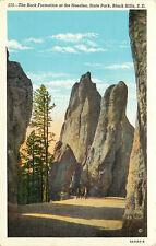 Linen Postcard SD C615 Hollister Rock Formation Needles State Park Black Hills