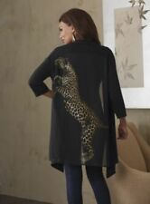 sz Large Leopard Back Sweater black top tunic animal cardigan by Midnight Velvet