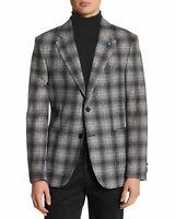 TailorByrd Mens Slim Fit Plaid Unstructured Sportcoat 48 Regular Grey