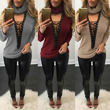 Womens Long Sleeve Choker High Neck Knitted  Jumper Sweater Lace up Ribbed Tops