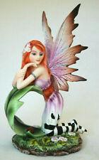 Elfe auf Blatt 18 cm hoch, Fantasy Fee Figur Jessica Nemesis Now