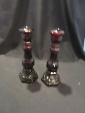 """New ListingVtg Avon 2 Ruby Red Glass Candle Sticks 1876 """"Cape Cod"""" Candle Holders"""
