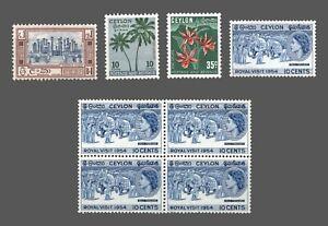 Ceylon #312,313,314,318 MNH/MH   Block 4 MNH  1951-53  Cat. $9.