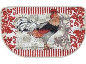 """Country Rooster Printed Slice Kitchen Mat 30"""" x 18"""" Non-Skid Backing Red White"""