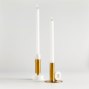 """NEW Crate and Barrel Modern Marble & Brass Taper Candlestick 6"""" Holder White NWT"""