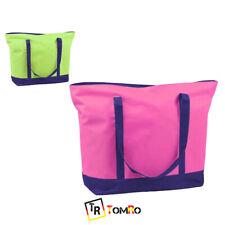 Bolsa Playa Bicolor Rosa Verde bolso Grande Doble Asa Veraniego