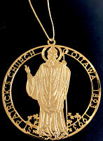 Vintage Catholic St Patrick's Church Ottawa Die Cut Gold Tone Ornament