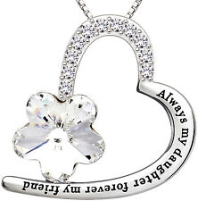 ALOV Sterling Silver Always my daughter forever my friend Heart Pendant Necklace