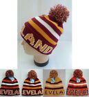 CLEVELAND Beanie Hat PomPom Winter Toboggan Knit POM Brown Orange Wine & Gold