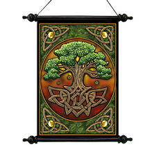 Celtic Roots Legendary Tree of Life Magical Scroll Tapestry w/ Rods & Finials
