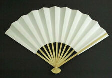 Japanese Odori Fan Geisha Dance Hand Held SENSU Folding Fan White Made in Japan