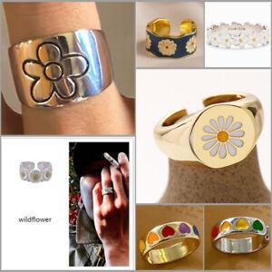 Fashion 925 Silver Women Flower Open Size Rings Adjustable Rings Wedding Jewelry