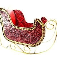 """Red and Gold Metal Christmas Winter Holiday Sleigh 15"""" Long, 11"""" Tall. 7"""" Wide"""