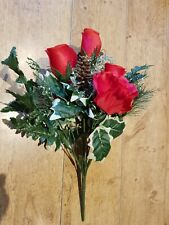 ARTIFICIAL SILK FLOWERS CHRISTMAS RED ROSES HOLLY GOLD FIR CONES BUNCH