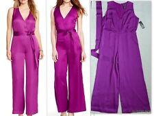 NWT RALPH LAUREN Purple Charmeuse Wide-leg  Belted Jumpsuit Size 16 $175
