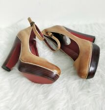 La Strada Ladies Light Brown Leather Block Heel Ankle Strap  Court Shoes Size 4