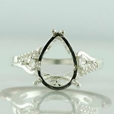 Pear Shape Semi Mount Exotic Ring 9x13 MM Genuine Sterling Silver Events Jewelry