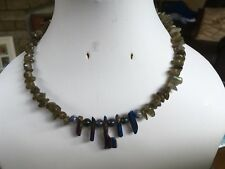"15"" Handmade Quartz Shard, Sodalite and Labradorite Memory Wire Necklace"