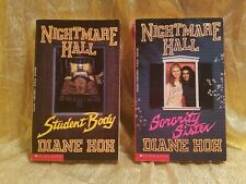 Lot of 2 Nightmare Hall Books Diane Hoh, Sorority Sister, Student Body, Horror