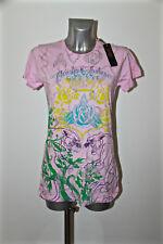 T-shirt rosa déco grandi felini ED HARDY audigier T L NUOVO CON ETICHETTA valore