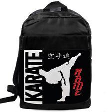 KARATE School Bag Boys Backpack Childrens Black Rucksack Personalised KS248
