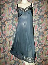 Vintage Pollinaise Black Silky Nylon Plus Size Empire Slip Nighty Lingerie 40