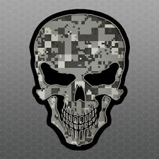 Skull Digital Camo Sticker- Car Truck Laptop bumper vinyl decal - Like Punisher