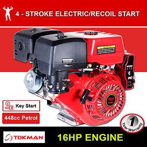 16HP Petrol Engine OHV Stationary Motor Horizontal Shaft Electric Start Recoil