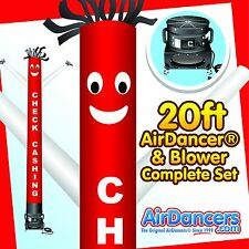 Red & White Check Cashing Air Dancer ® & Blower 20ft Tube Man Sky Dancer Set