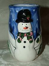 2000 Xmas Hermitage Pottery SNOWMAN Tumbler Candy Container Hand Paint Christmas