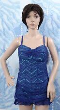 Christina Crochet Passion blue/green Twist Bandeau Dresskini swim tankini top,12