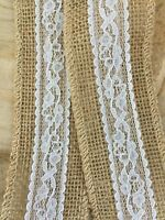 Hessian Ribbon & Ivory Lace Trim,Wedding,Bouquet Wrap,Crafts,Neat Edge 1 MTR
