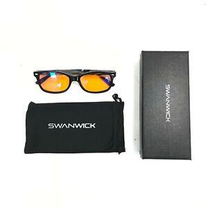New Swanwick SW101-BR Glasses Black Orange Lens Sleep Blue Light Blocking 481774