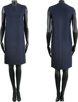 CELINE by Phoebe Philo 1500$ New Navy Blue Silk & Wool Shift Dress sz 36 38 40