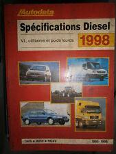 livre spécifications diesel 1985 à 1998 Autodata