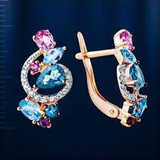 Russian jewelry solid rose gold 14k london topaz amethyst gemstone earrings NWT