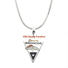 Denver Broncos Team Logo Necklace On 925 Sterling Silver Snake Chain (5 Sizes)