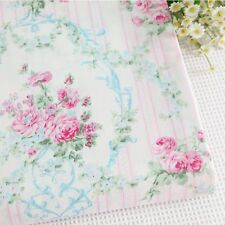 1 Yard 100% Cotton Shabby Chic Blue Pink Floral Flower Rose Fabric