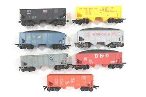 HO-Scale 7 Life-Like 34ft Open 2-Bay Hoppers, ± Coal Loads, Good Condition