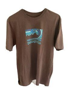 Patagonia Viewfinder Hokusai Wave Brown T-Shirt Sz Medium